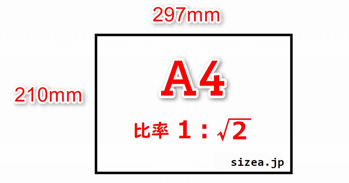 A4サイズの用紙の縦と横の長さと縦横の比率