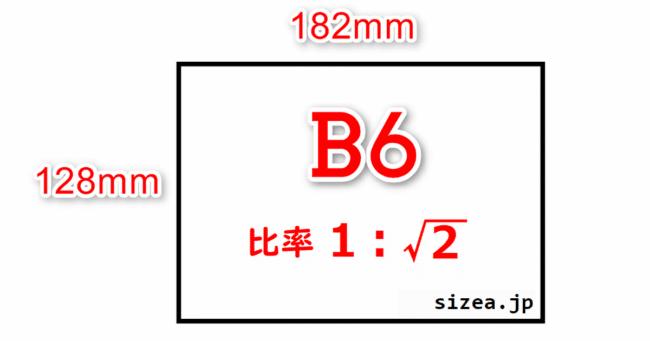 B6サイズの用紙の縦と横の長さと縦横の比率