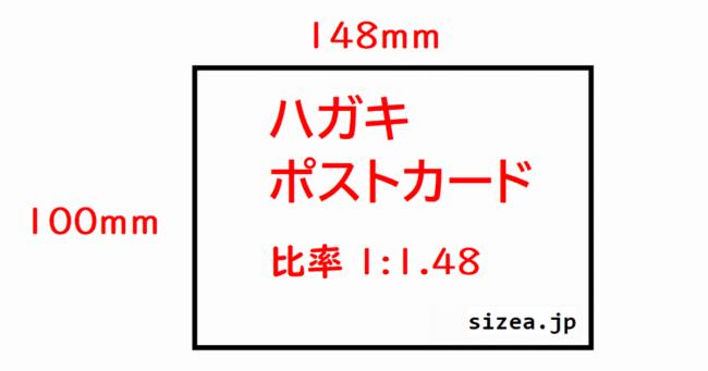 ハガキ・ポストカードのサイズ 縦横の長さと比率、面積、対角線の長さdpiなどを記載